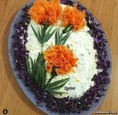 سالاد شیرازی به شکل هندوانه
