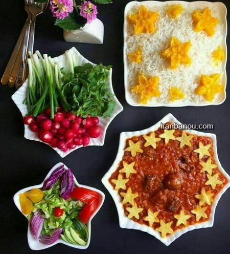 تزیین غذاها,تزیین انواع دسر و ژله,عکس تزیین برنج,تزیین غذا و سالاد,تزیین انواع خورشتها,تزیین سفره شام مهمانی,تزیین غذای ایرانی