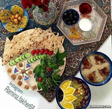 سفره افطاری زیبا,تزیین سفره افطار برای مهمان