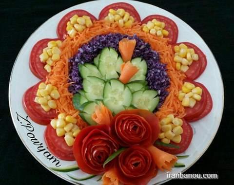 تزیین سالاد الویه به شکل کیک,تزیین سالاد الویه به شکل قلب