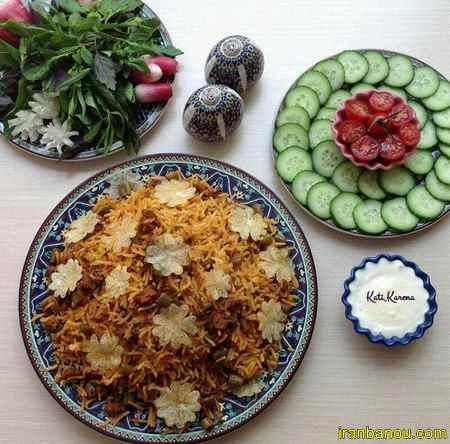 لوبیا پلو با سالاد شیرازی