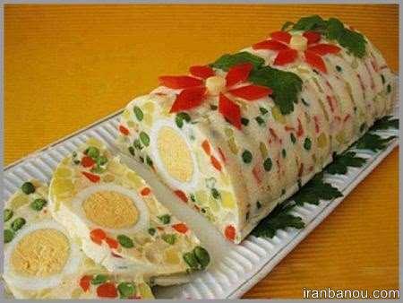تزیین سالاد الویه با نان تست