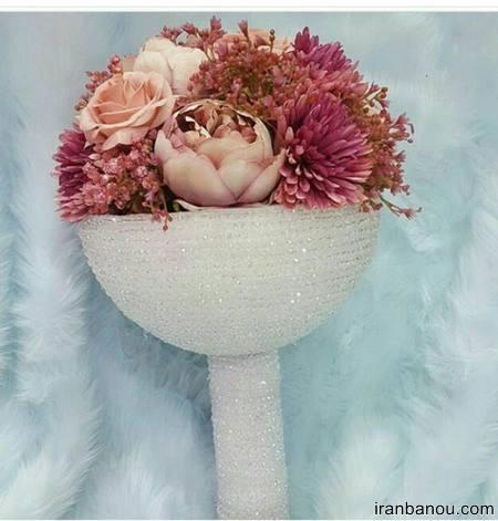 دسته گل عروس کریستالی جدید