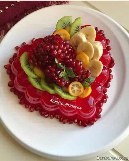 تزیین ژله ساده با میوه